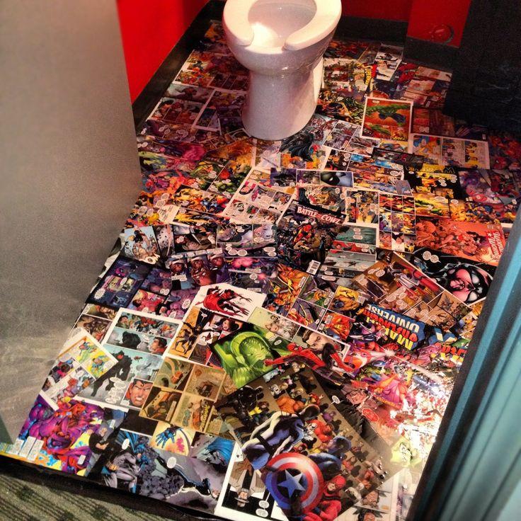 Super hero comic book floor  I bought 12 comic books for  4  Mod Podge   Comic  Book Bathroom IdeasSuper. 17 Best ideas about Comic Book Rooms on Pinterest   Magazine