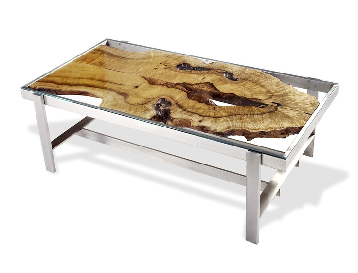 Book  matched curly myrtle slabs under glass top   coffee table   32  x   Glass Top Coffee TableCoffee TablesAluminum TableReclaimed Wood. 41 best Exotic Wood Furniture images on Pinterest   Exotic  Wood