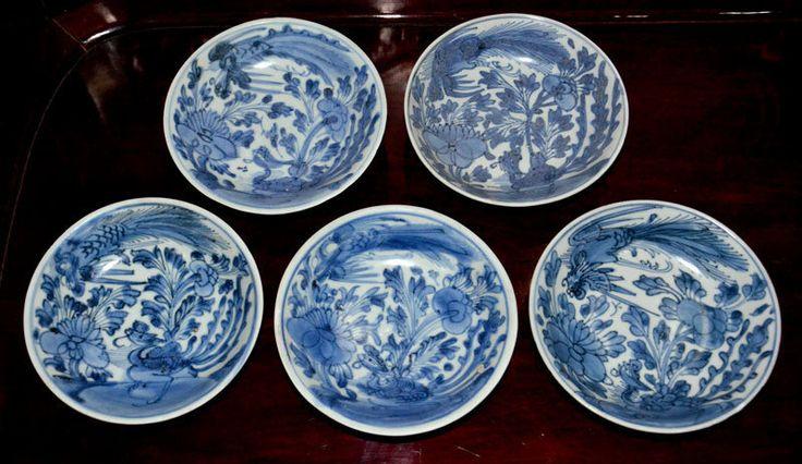 5 pcs Kangxi Blue and White Small Phoenix Dishes