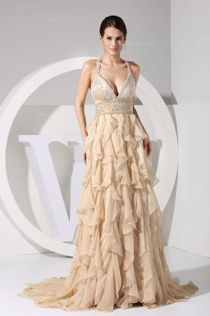 Luxury empire waist multilayer skirt chiffon evening dress with fully beads