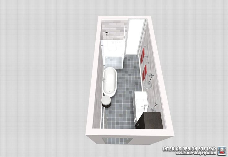 Long, narrow bathroom design- freestanding bath was a must have.