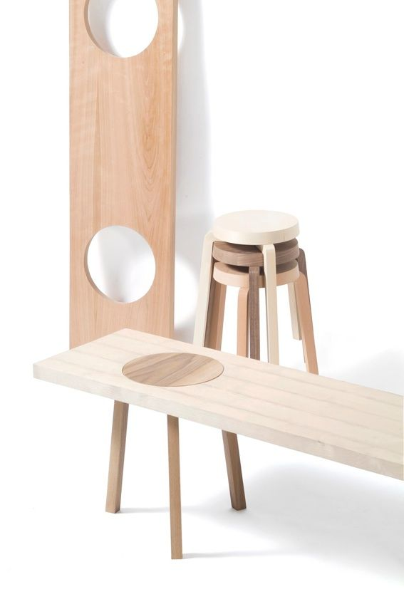 The Hockerbank is inspired by makeshift seating. The series consists of several stools, which are supplemented by a plank with round cut-outs; and round tables.