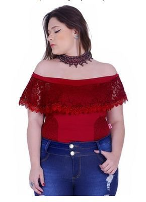 84f771fd4 Body feminino Zigma ciganinha plus size com lindo detalhe formando um colar  bordado
