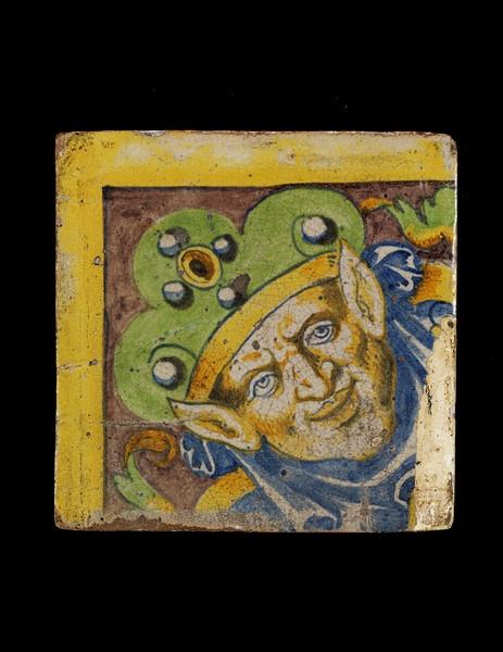 Tin-glazed earthenware tile.  Rouen, France, 1542