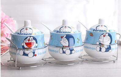 Kawaii Cartoon Ceramic Hello kitty Doraemon Sugar Bowl Home Kitchen 3 In 1 Set Salt Condiment Pot Jars With Small Spoon