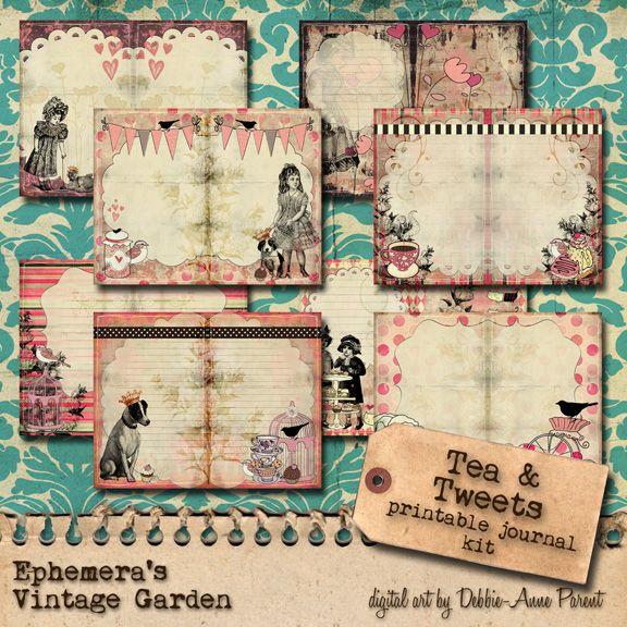 Garden Junk Ideas Galore 2014 Round Up: 'Tea And Tweets' Printable Journal Kit By Ephemera's