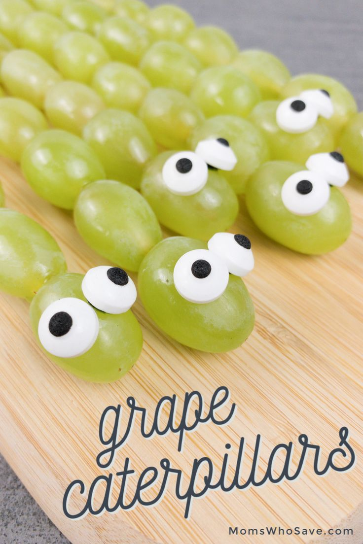 Looking for healthy and fun snack ideas for your kids? Make these super simple grape caterpillar kabobs!