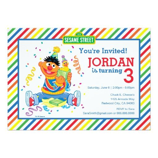 469 best happy birthday invitations images on pinterest ernie striped birthday 5x7 paper invitation card bookmarktalkfo