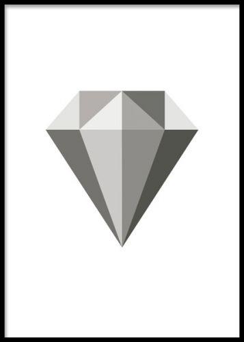 Poster med grå diamant, fin till minimalistisk inredning.