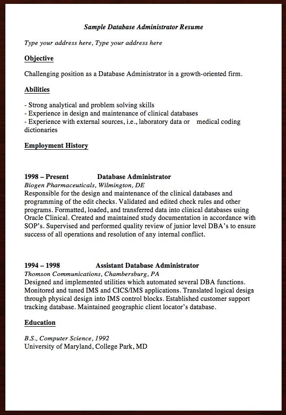 cover letter for database administrator This sample of cover letter for a database administrator contains the necessary information which hiring managers seek in potential candidates.