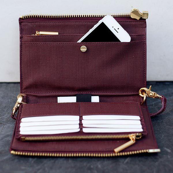 Dagne Dover | Oxblood Clutch Wallet Handbags Wallets -