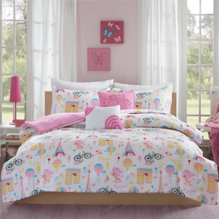 25 best ideas about paris bedding on pinterest chevron - Pink and yellow comforter ...