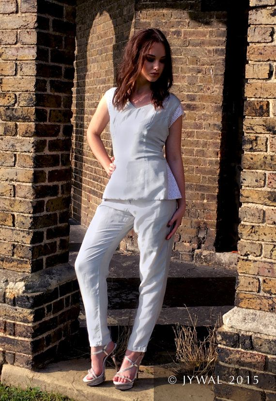 Hand crafted Cap sleeve Ivory Silk Top and Trouser suit by Jywal