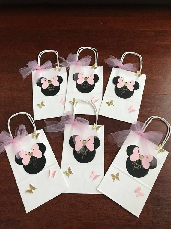 10 Minnie Mouse Goo Favor Bags Pink Gold Black Red Birthday