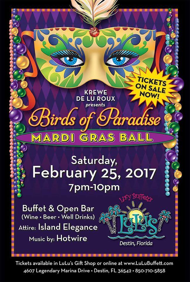 Announcing Birds Of Paradise Mardi Gras Ball at Lulu's Destin, Feb. 25th