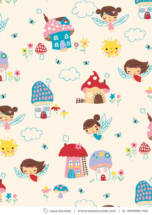 Inga Wilmink for Hemmers Itex - Mushroom Fairies fabric