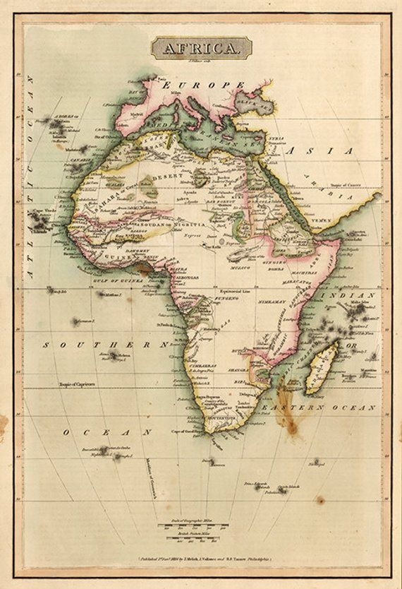 Map of Africa, 1814. Vintage restoration hardware home Deco Style
