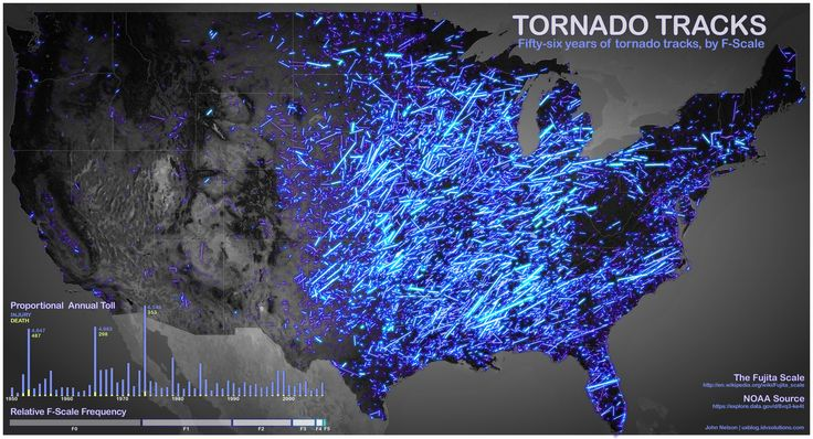 56 Years of Tornado Tracks [Infographic]