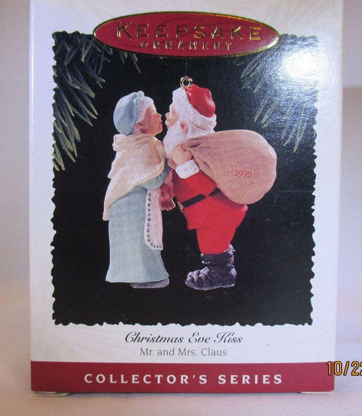 Vintage Hallmark Tree Ornament 1995 Christmas Eve Kiss Mr & Mrs Claus Free Shpg