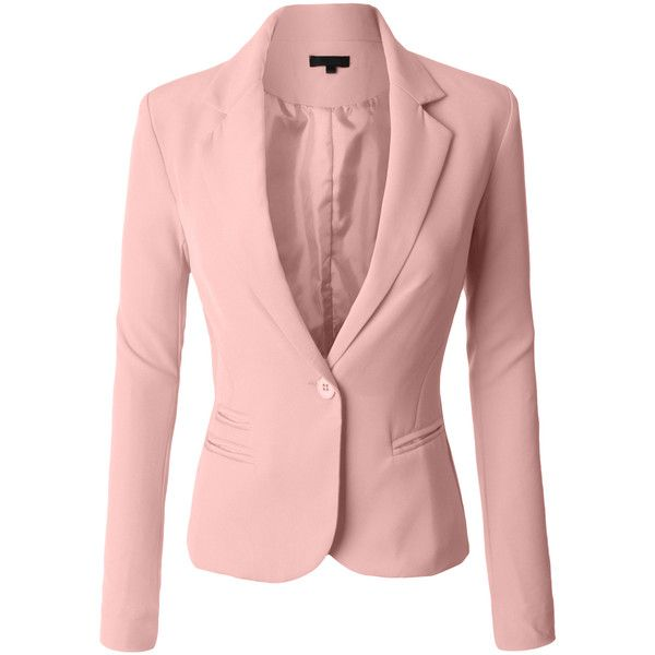 LE3NO Womens Classic Fitted Boyfriend Blazer Jacket ($33) ❤ liked on Polyvore featuring outerwear, jackets, blazer jacket, boyfriend blazer, fitted blazers, pink boyfriend blazer and pink jacket