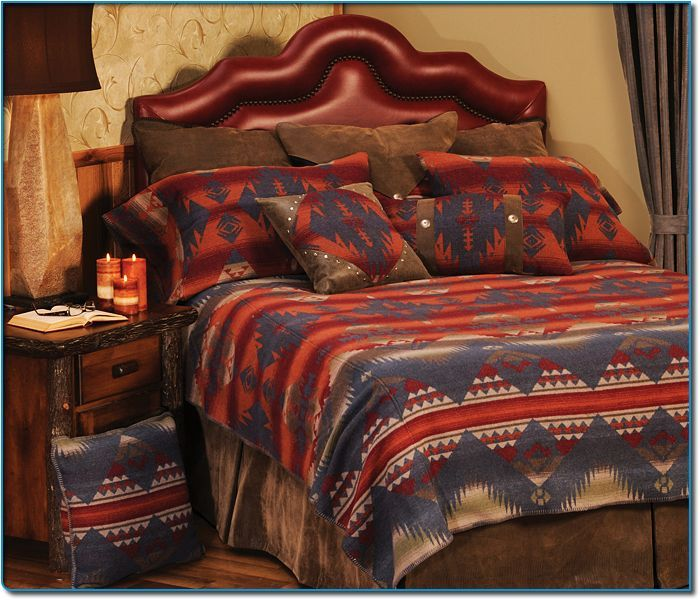 Socorro southwestern rustic cal king bedspread wooded for Southwest beds