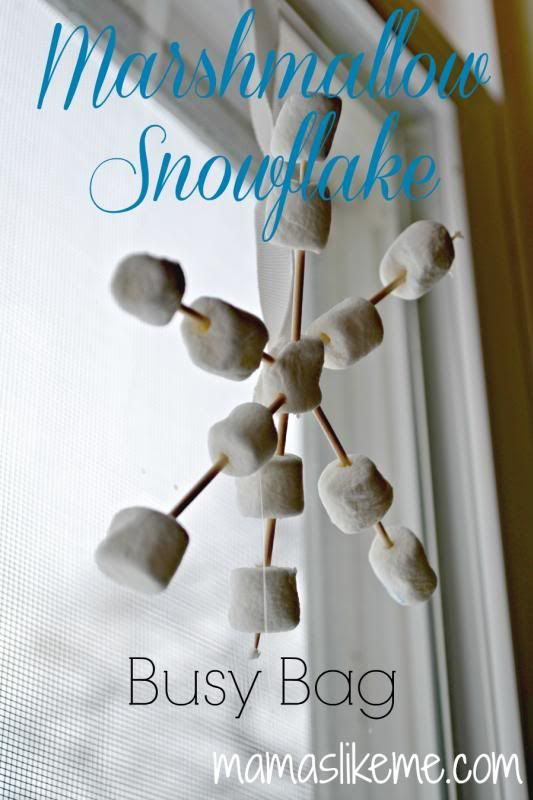 Marshmallow Snowflake Busy Bag Winter Activity for Fine-Motor Skills