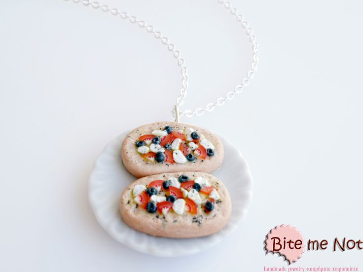 "Greek ""Ntakos"" -Silver plated long chain necklace!  -Round ceramic plate with two greek cretan barley rusks, small pieces of tomatoes, crumbled feta (greek cheese), olives and trimmed oregano!"