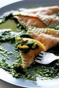 Sweet Potato Ravioli with Kale Pesto (vegan) http://www.thefirstmess.com/2012/01/02/sweet-potato-ravioli-with-kale-pesto/