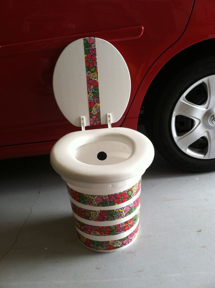 Boat potty. Made from paint bucket, toilet seat and decorative duct tape.lol