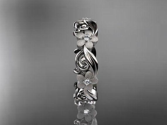14kt white gold diamond flower wedding ring,engagement ring,wedding band. ADLR 191. $785.00, via Etsy.: