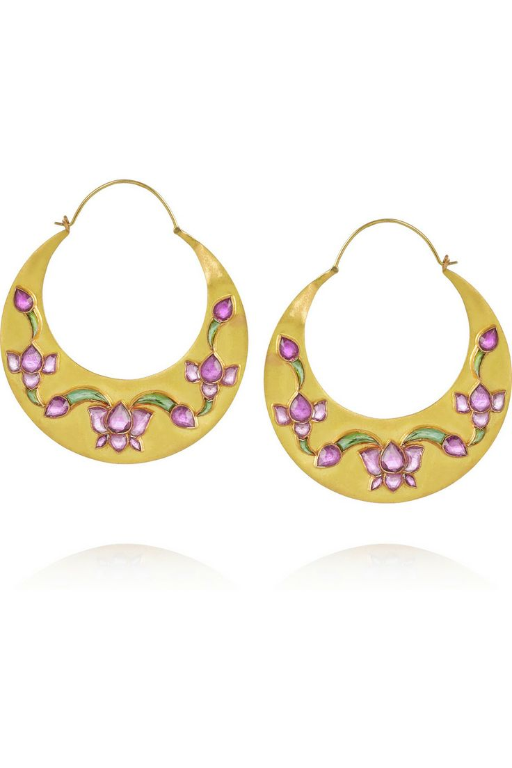 MUNNU The Gem Palace Lotus 22-karat gold tourmaline earrings