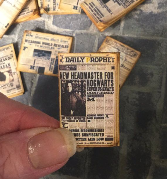 Four Newspapers Dollhouse Miniature 1/12 scale, Display set of four, 1 inch scale, Harry Potter, Hogwarts News, Perfectly aged, Tiny Detail