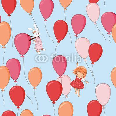 Vecteur : Endless pattern. Bunny, girl, balloons.