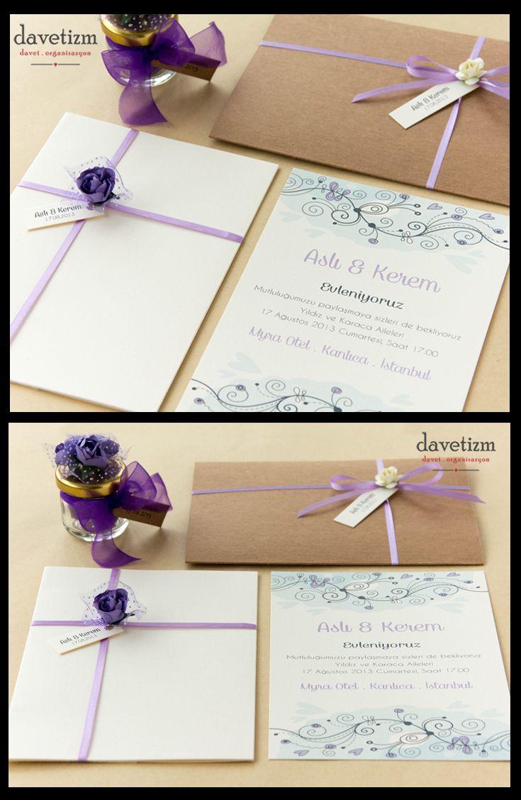 Mor ve mavi tonlarında bahar dalları ile süslenen bu davetiye, kır düğünleri için hoş bir seçim olacaktır. #davetizm #davetiye #wedding #invitation