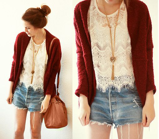 Urban Outfitters Cardi, Chicwish Lace Shirt, Urban Outfitters Shorts, H Necklace, Primark Bag