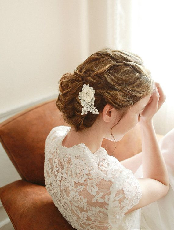 STYLE - #116 CODE:HRP004 Lace rosette hair pin. Lace hair pin features petite floral rosette embelished with various beads in ivory color.  Lovely small detail to add to your wedding ensemble. To order yours contact us at loca@localoca.co.za www.localoca.co.za