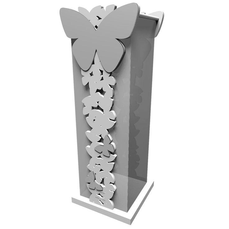 Paragüero Butterfly de CalleaDesign. Estructura en madera DM e interior y bandeja de polipropileno.