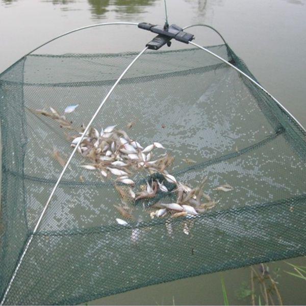 "Specifications: Type: Fishing Umbrella Dip Net Material: Nylon, Metal, Plastic Main Color: Green Weight: 126g Closed Length: 60cm / 24"" Open Size: 60 x 60 x 20cm / 23"" x 23"" x 8"" (L*W*H) Mesh Size: 0."