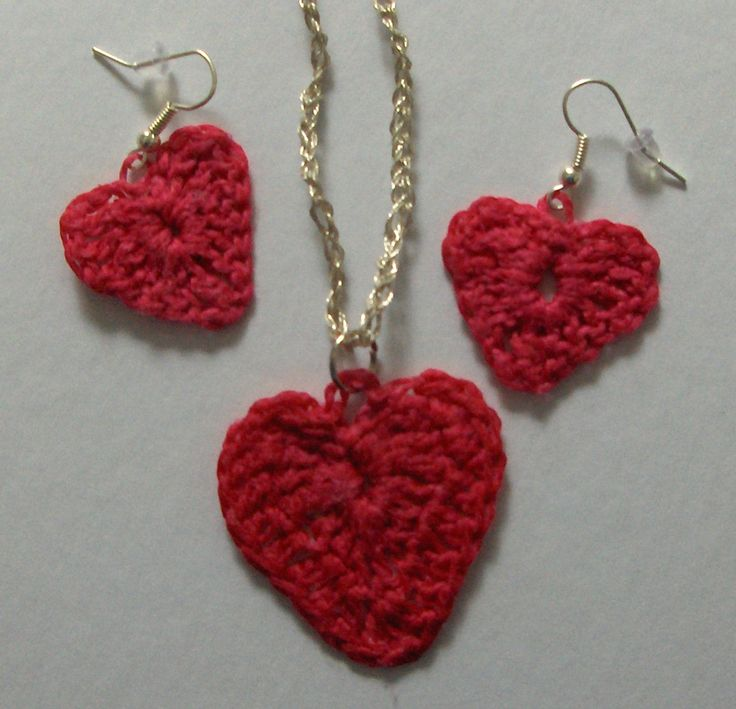 Crocheted Heart Earrings & Pendant - fish hook earrings and crochet silver thread necklace - $25.00 set including shipping
