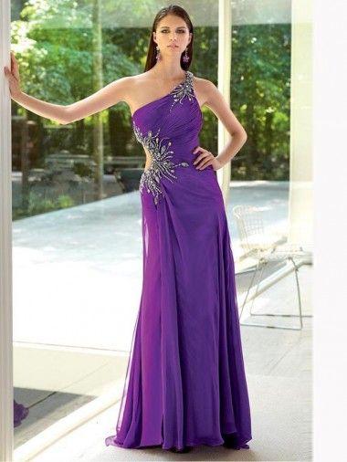 One Shoulder Appliques Backless Purple Fashion Formal Dresses