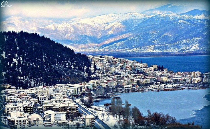 Kastoria with snow capped mountains
