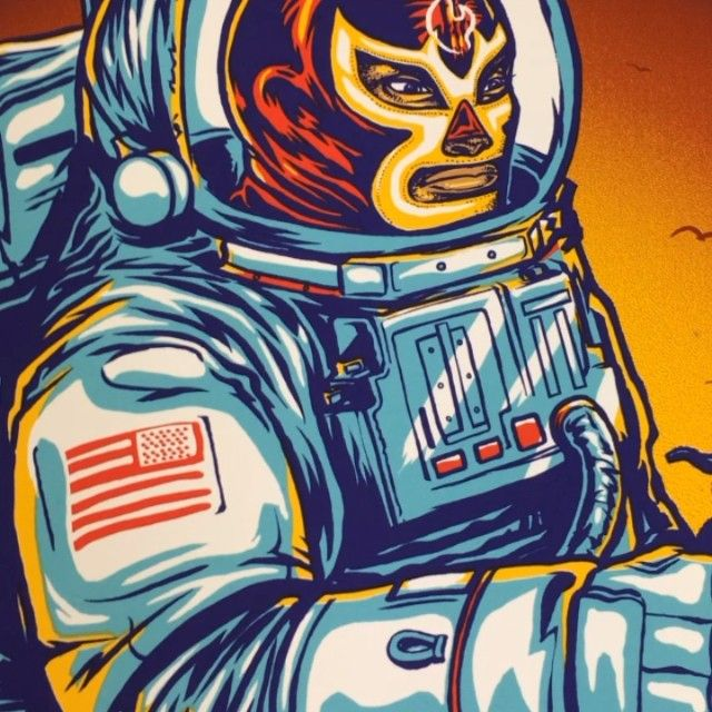 Tonight and tomorrow's #prints uncut. #art by #Munk_One for #311 #dallas #houston #space #cowboys #science #summer #music