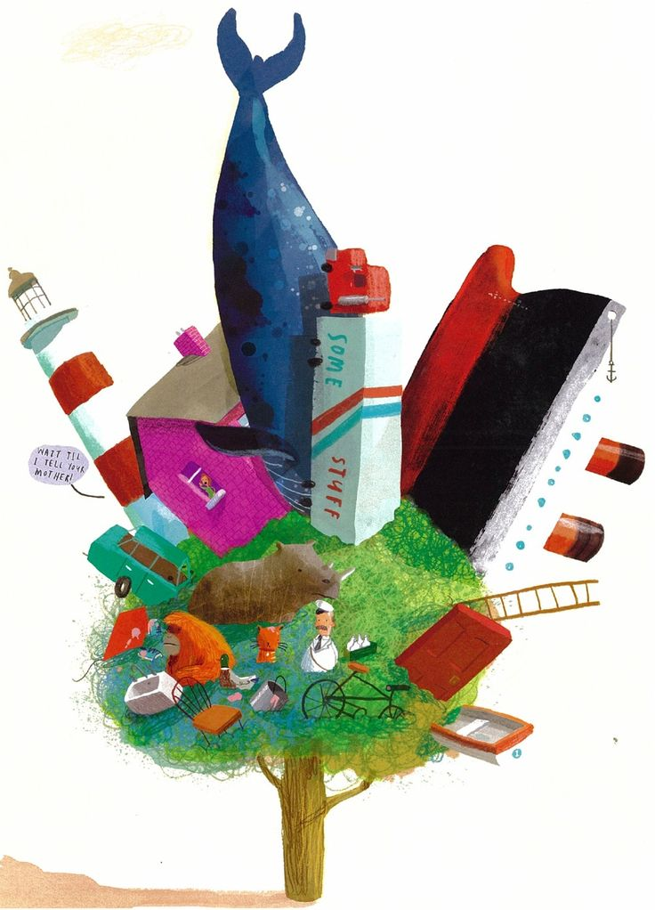 Oliver Jeffers illustration for his book Stuck
