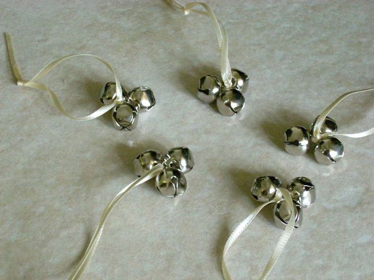 Set Of 20 Wedding Bell Favors Satin Ribbon Clover Shaped Jingle Bells Many Colors Available Silver