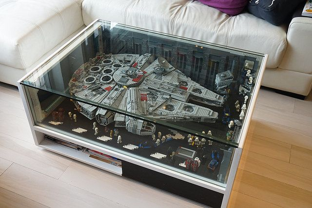 The LEGO Millenium Falcon goes perfectly in an all glass coffee table. It would be perfect for any game or family room. http://bricknerd.com/home/falcon-coffee-table-10-2016