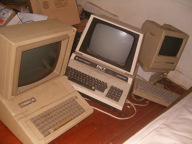 Images of computers from past to present.