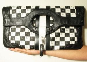 L.A.M.B. CARLISLE Authentic Checkered Black and White Clutch Bag