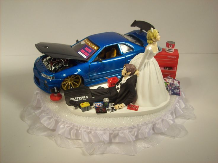 AUTO Mechanic Bride and Groom 2002 Nissan Skyline GTR r34 Blue CAR Funny Wedding Cake Topper Groom's Cake by mikeg1968 on Etsy https://www.etsy.com/listing/216503459/auto-mechanic-bride-and-groom-2002