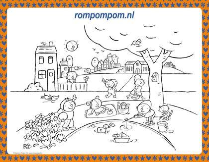 kleurplaat rompompom