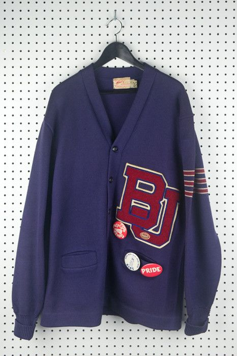 Vintage BJ letterman sweater with badges